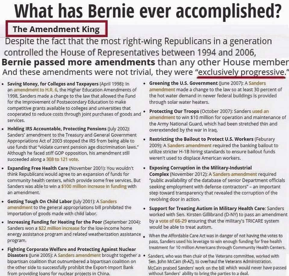 Bernie's Accomplishments